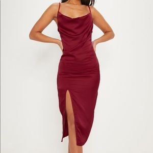 Prettylittlething strappy satin midi dress